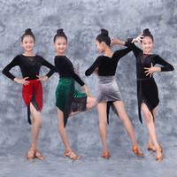 المرحلة ارتداء اللاتينية قاعة الرقص اللباس طويل الأكمام المخملية الأعلى مهدب تنورة الاطفال فساتين للفتيات تشا سامبا تانجو DQS3403