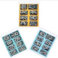 8 قطعة / المجموعة أسلاك معدنية لغز الذكاء العقل الدماغ دعابة الألغاز لعبة الكبار الأطفال أطفال مونتيسوري ألعاب تعليمية المبكر لطيفة هدية