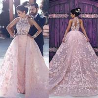 2019 Pink Increinting Vestidos de noche llenos de encaje con tren desmontable Vestidos de fiesta de fiesta fomral largos por dicho Vestidos Halter de Mhamad Arabe Ed12