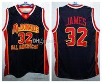 McDonald's All American Lebron Retro Jersey James # 32 الرجعية كرة السلة جيرسي الرجال مخيط الرقم العرف اسم الفانيلة