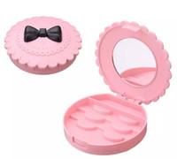 New Flower Lovely False Eyelash Storage Box Makeup Cosmetic With Mirror Case Organizer Bownot Beauty Comestics Tool Plastic