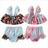 Kızlar Mayo Mermaid Yaz Plaj Bikini fırfır Mayo Balık Scales yazdır Külot Su Moda Spor Sling Swim Giyim C7185 Tops ayarlar