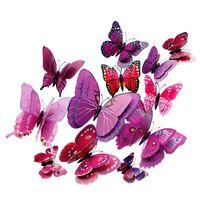 3D Kelebek Duvar Çıkartmaları Buzdolabı Sopa 3D Dtickers Kelebekler PVC Çıkarılabilir Duvar Çıkartmaları Kelebekler Düğün Odası Dekorasyon