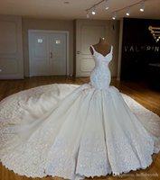 Echte weiße Prinzessin Mermaid Brautkleider Bling Langer Zug 2018 Sexy Saudi-Arabien Milla Nova Hochzeitskleid Kleid