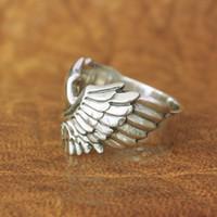 All'ingrosso-925 Argento Angelo Dimensioni Ala Anello Mens del motociclista della roccia punk dell'anello TA164 US 7-15