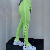 Fermuar Yüksekliği Bel Pantolon ile Bölünmüş Joggers Sweatpants Kadın 2020 Streetwear Çan Alt Uzun Flare Pantolon Pantalon Femme