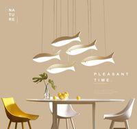 Criativa peixe pequeno restaurante lustre de personalidade simples lâmpada sala de estar candeeiros de mesa moderno bar LED lustre de moda sala de jantar