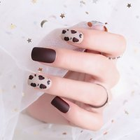Donne New Fashion Brown Coffee Unghie finte Donna Sexy Leopard Grain Design False Nail Copertura completa Lunga Nail Art Tips con colla