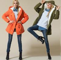 Tamaño extra grande de diseñador de las mujeres de la chaqueta delgado de la manera del color sólido de lana de vellón Faux Cordero chaqueta con capucha Mujeres Abrigos