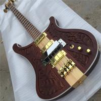 Spedizione gratuita Brown Electric Bass Chitarra con motivo per incisione, 4 pickup, 4 corde, 20 tasti, dorato hardwares, offrono chitarre personalizzate Guitarr