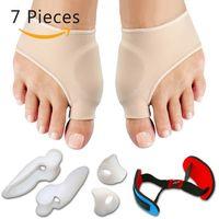 7pcs / Set Bunion Corrector Treatment Gel Pad Stretch Nylon Hallux Valgus Protector Guard Punta Separatore Articoli ortopedici Forniture per la cura del piede