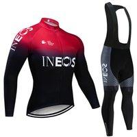 바지 로파 Ciclismo Invierno를 키트 턱받이 투르 드 프랑스 2020 프로 팀 남자의 겨울 사이클링 저지 열 양털 자전거 의류를 설정