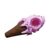클린 커버 및 장식 그릇 인테리어와 파이프 담배를 창조 분홍색 재미 아이스크림 파이프 실리콘