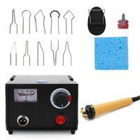 Holzbrenner-Pyrographie-Stift Brennmaschine Kürbis-Handwerk-Werkzeugsatz mit Schweißdraht-Oberteil einstellbare Temperatur