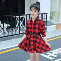 Teenage Girls Dress Primavera Autunno Bambini Abiti casual Plaid Lettera manica lunga bambini Dress for Girl Teen 6 8 10 12 14 anni
