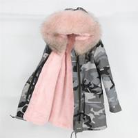 Cappotto di pelliccia reale Marca 2019 Long Camouflage Parka Giacca invernale Cappotto Donna Parka Big Natural Raccoon Fur Collar Warm Thick