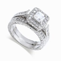 Wholesale - free shipping real fine princess cut 14kt white g...