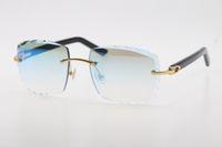 Atacado gato olho preto braços 3524012 Óculos de sol desenhador sem aro c decoração moldura de ouro óculos masculinos e femininos mistos chifres óculos