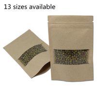 Brown Kraft Paper Bag Doypack Zipper partito pacchetto Spuntini per tè e caffè bagagli Sacchetti Stand Up Sacchetti per imballaggio con la radura finestra di plastica