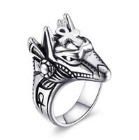 خواتم رجالي أنوبيس المصرية-الرجعية فاسق عنخ المقاوم للصدأ خاتم الخطوبة مصمم مجوهرات للرجال بوي هدية (لنا حجم 8-12)