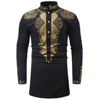 Оптовая мужская хипстер Африканский принт дашики рубашка новые этнические рубашки мужчины с длинным рукавом стенд воротник рубашки Африка одежда Camisa размер M-3XL