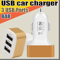 848 3 puertos USB Cargador de automóviles Adaptador de viaje Enchufe de coche Triple Car Cargador USB para teléfonos inteligentes Tablet PC PDA inteligente PDA sin paquete O-SC