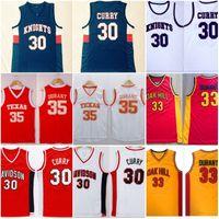# 30 de Stephen Curry Davidson # 35 Kevin Durant Texas College basquetebol camiseta costurada cavaleiros Oak Hill High School de Basketball Jersey
