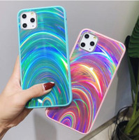 Luxe Laser pour iPhone Pro 11 X XR XS Max Cas 3D arc-en-Glitter Phone 7 pour iPhone 8 6S 6 Plus