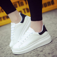 Femmes Chaussures Femmes 2019 Caual Chaussures Mode Blanc Sneaker bout rond blanc Femmes Chaussures à lacets Chaussures plateforme Zapatillas Mujer MX190723