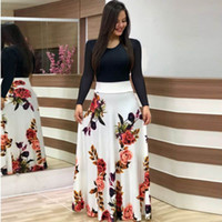 긴 소매 드레스에게 긴 짧은 치마 여성의 드레스 플러스 사이즈 WGLYQ55을 차단하는 2019 인기있는 유럽과 미국의 플라워 프린트 색상
