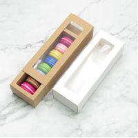 30pcs Macaron emballage papier blanc Boîte Brown Kraft Boîte en carton avec fenêtre transparente DIY Cookie Macaron cadeau XD22852
