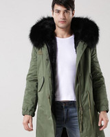 7 colori Uomini snow cappotti nero pelliccia di procione assetto felpato con cappuccio antivento Meifeng marchio nero pelliccia di coniglio fodera verde militare tela lunga parka
