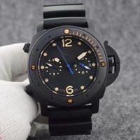 럭셔리 클래식 PAM0061 자동 이동 없음 크로노 그래프 47mm 남성 시계 회전 베젤 모두 블랙 컬러 스테인레스 스틸 케이스 블랙 고무