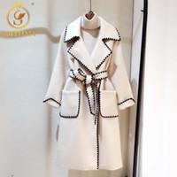 Chaquetas de mujer Smthma 2021 Mujer Abrigo de lana de alta calidad Chaqueta de invierno de alta calidad Mujeres de lana delgada Larga CashMere Abrigos Cardigan Elegante