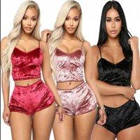 Femme Velvet Lingerie Set Hauts Sous-vêtements Pyjama Lingerie Shorts Pyjamas vêtements de nuit 2Pcs Lingerie de nuit Tops Shorts KKA7798 Crop