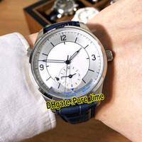 Новый Master Control Geophysical Master Geographic 1428530 Белый Циферблат Автоматические Мужские Часы Стальной Корпус Синий Кожаный Ремешок Часы Pure_Time.
