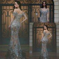 2020 Nueva hombros Gris Mayor rebordear Off formales cristales vestidos de noche largo moldeado Prom Vestidos de época árabe desfile de los vestidos por encargo 13