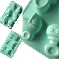 Emzik Ayak Modelleme Kek Kalıpları Bebek Duş DIY El Yapımı Sabun Kalıp 6 Delik Pozisyon Yeşil Silikon Kalıpları 5xg L1