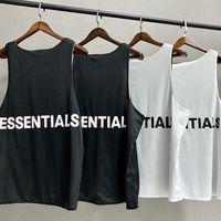 Tanrı Essentials Taraflı Giyim Kolsuz Gömlek 2020 High Street Tide Marka Moda Stil Erkek Tasarımcısı Yelek tişört SİS Mesh Yelek Korku