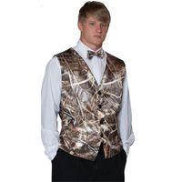2019 novo camo impresso veste coletes de casamento coletes realtree mola camuflagem fina fit homens coletes 2 pedaço conjunto (colete + gravata) feitos personalizados