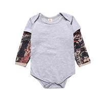 Bahar romper INS bebek erkek çocuk giysileri Romper Giyim% 100 pamuk çocuk tulum yazdır Tatto Uzun Kollu Dövme Baskı O-boyun Güz 0-2T