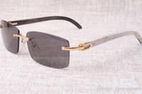 Горячие безрамные солнцезащитные очки очки 3524012 Натуральная смесь вовного рога Мужчины и женщины Солнцезащитные очки Очки очки Eyeglassessize: 56-18-140 мм