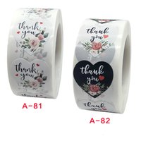 1 Inch 500pcs Roll Heart Floral Thank You Stickers Coated Pa...