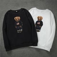 Urso de maré imprimir hoodies para homens luva longa pulôver mas hoodies designer moda o pescoço hoodies homens