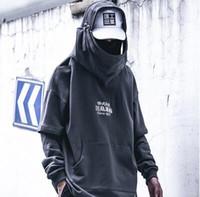 가을 2019 남성 하라주쿠 힙합 코트 남성 재킷 오버 사이즈 롱 후드 티 코튼 패션 장식이 코트와 재킷