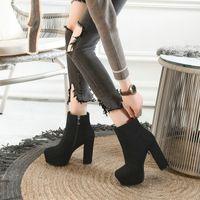 Venda quente-faux camurça plataforma ankle boots zíper sólido amarelo preto moda mulher botas sapatos bloco de salto alto mulheres botas