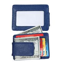 Clipe de dinheiro, carteira de bolso frontal, couro RFID bloqueio forte ímã Carteira fina com 3 cartões de crédito e bolsa de moeda para homem e mulher