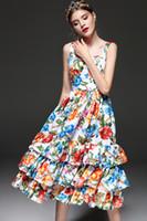 Alta calidad Nuevo 2019 Moda Diseñador de la pista Vestido de verano Spaghetti Correa de mujer Tiered volante Casual Floral Party Dress