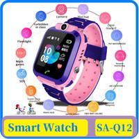 جديد لمكافحة خسر Q12 الطفل الذكي للماء ووتش الآمن LBS لتحديد المواقع بطاقة SIM ساعة نداء الموقع المقتفي كاميرا الاطفال ساعة ذكية