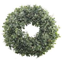 Konstgjorda gröna bladkrans - 17,5 tums främre dörrkrans skal gräs boxwood för väggfönster parti dekor